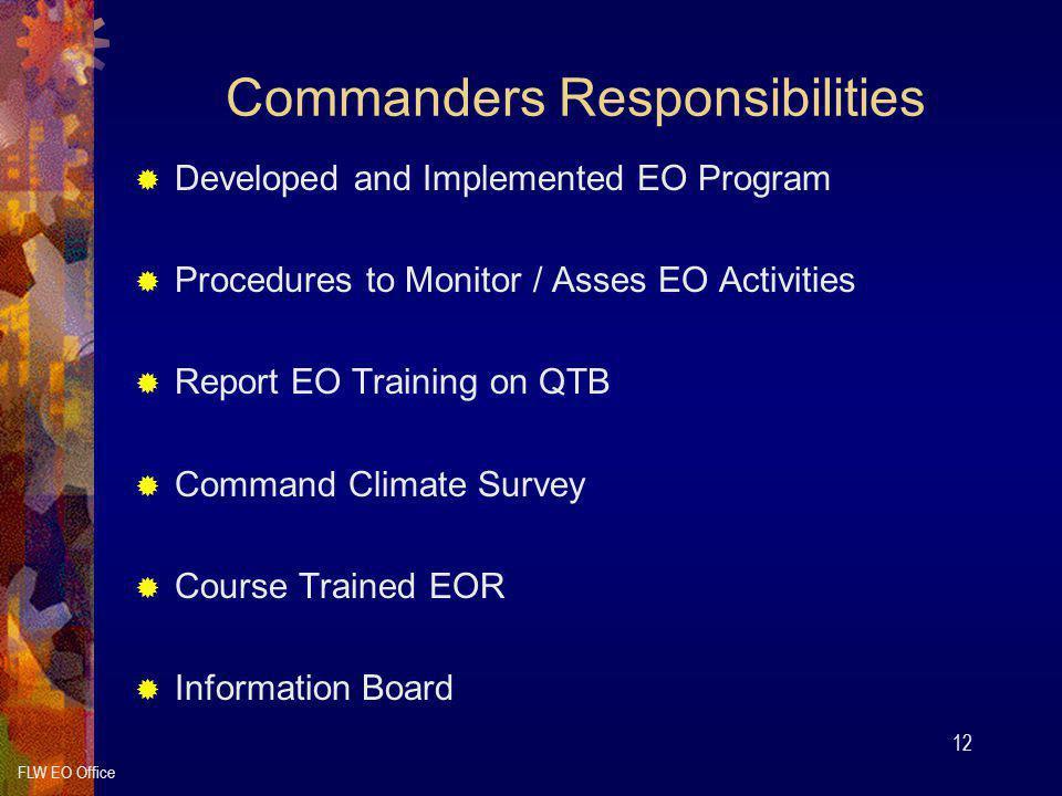 Commanders Responsibilities