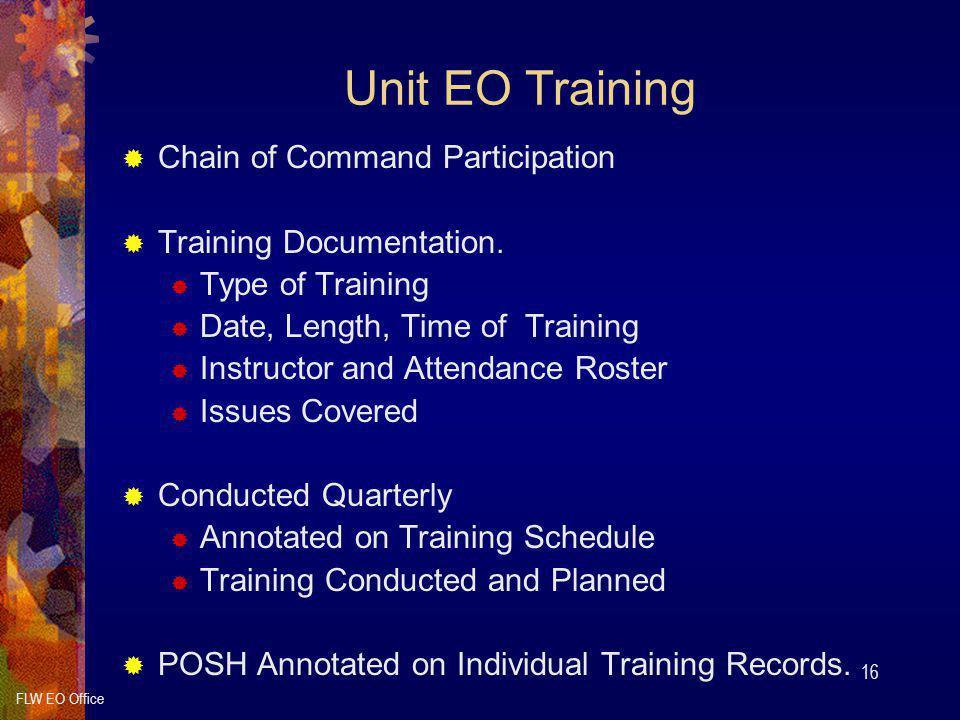 Unit EO Training Chain of Command Participation