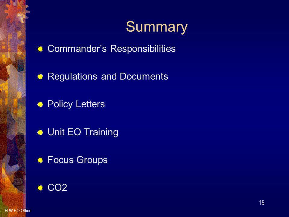 Summary Commander's Responsibilities Regulations and Documents