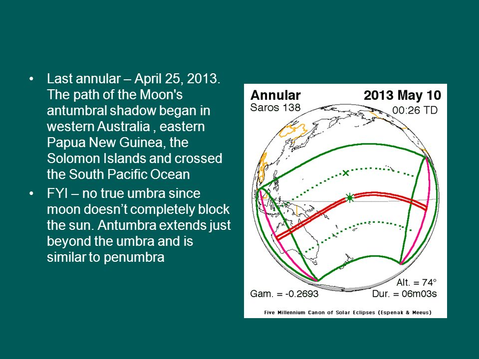 Last annular – April 25, 2013. The path of the Moon s antumbral shadow began in western Australia , eastern Papua New Guinea, the Solomon Islands and crossed the South Pacific Ocean