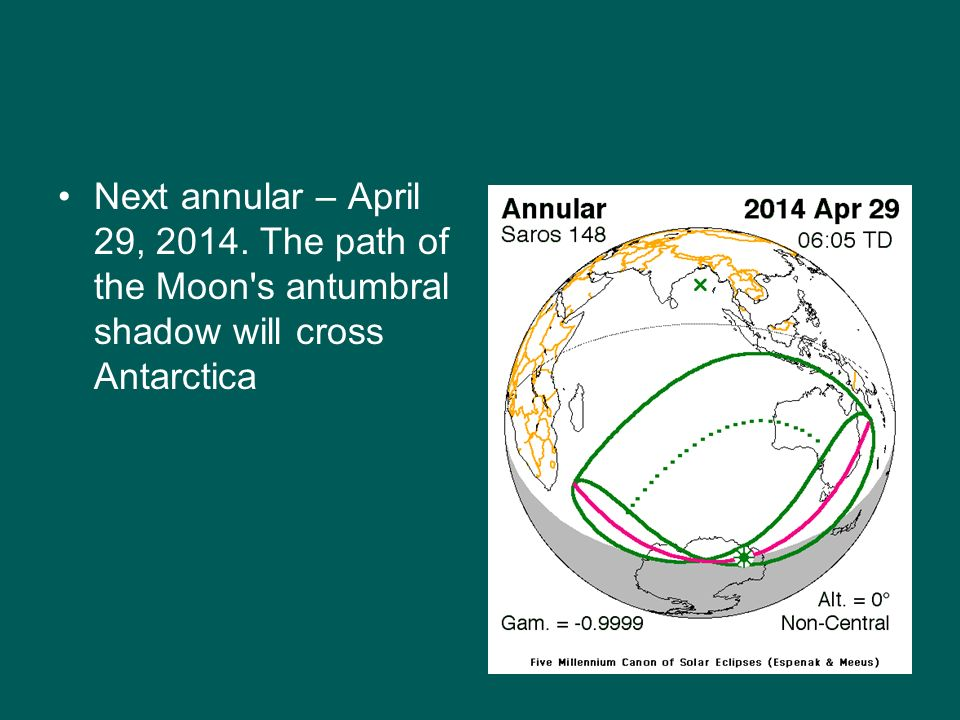 Next annular – April 29, 2014. The path of the Moon s antumbral shadow will cross Antarctica