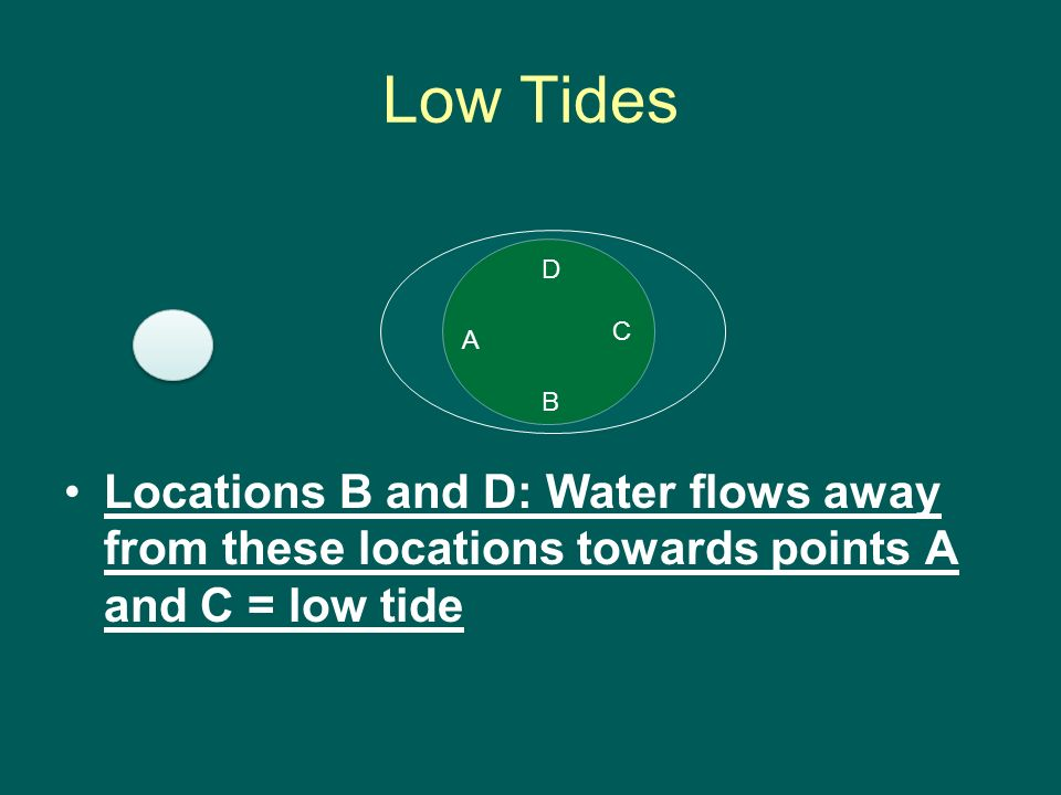 Low Tides Locations B and D: Water flows away from these locations towards points A and C = low tide.