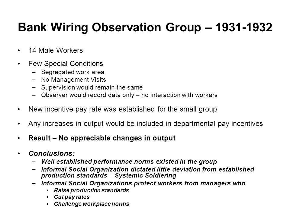 Bank Wiring Observation Group – 1931-1932