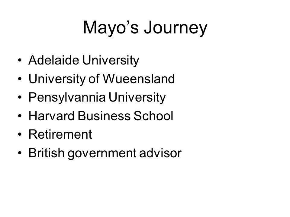 Mayo's Journey Adelaide University University of Wueensland