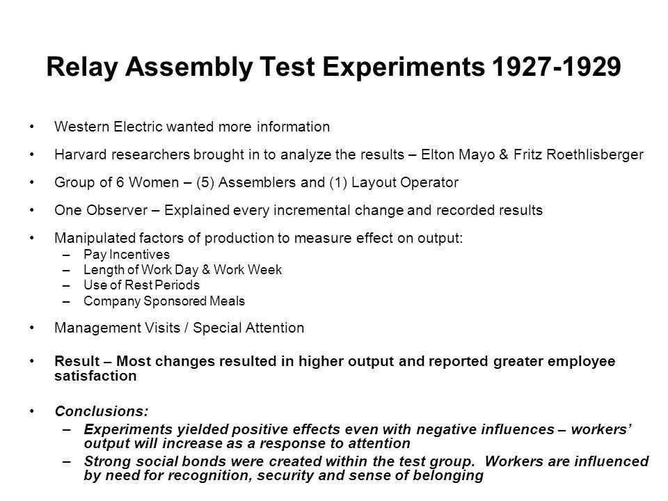 Relay Assembly Test Experiments 1927-1929