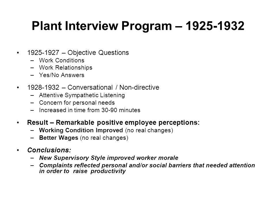 Plant Interview Program – 1925-1932