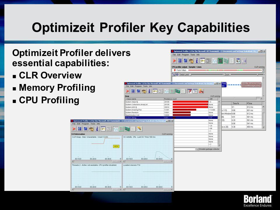 Optimizeit Profiler Key Capabilities
