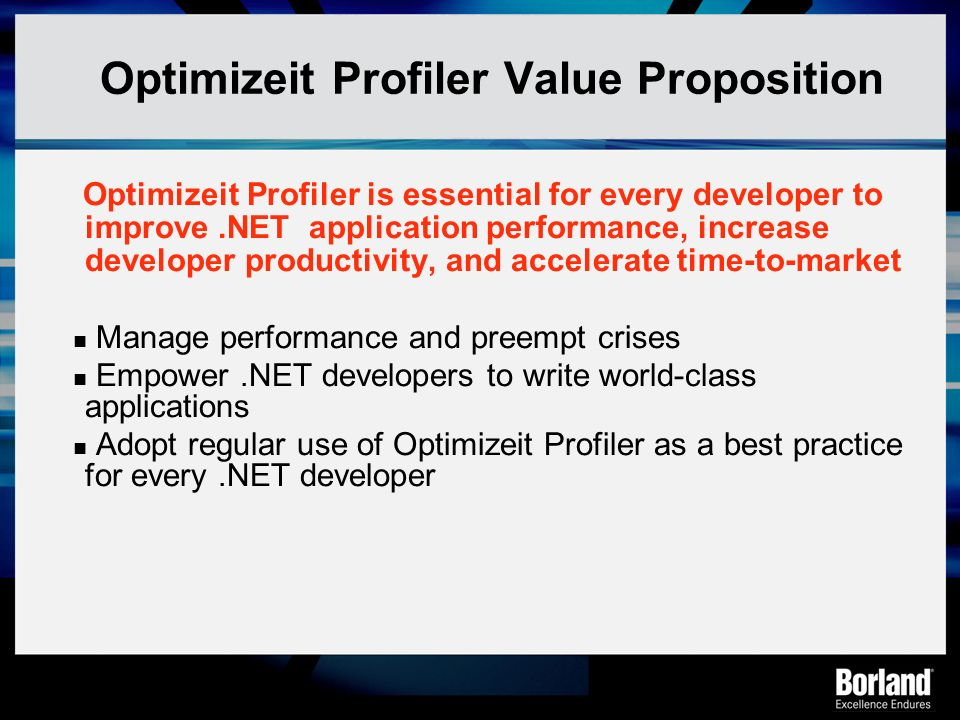 Optimizeit Profiler Value Proposition