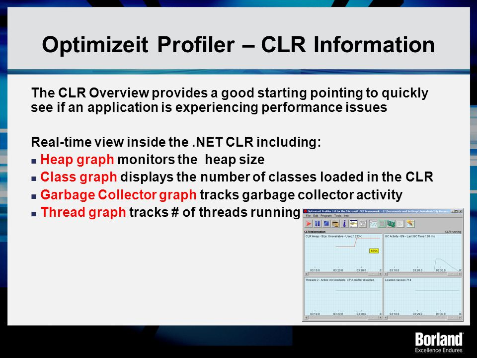 Optimizeit Profiler – CLR Information