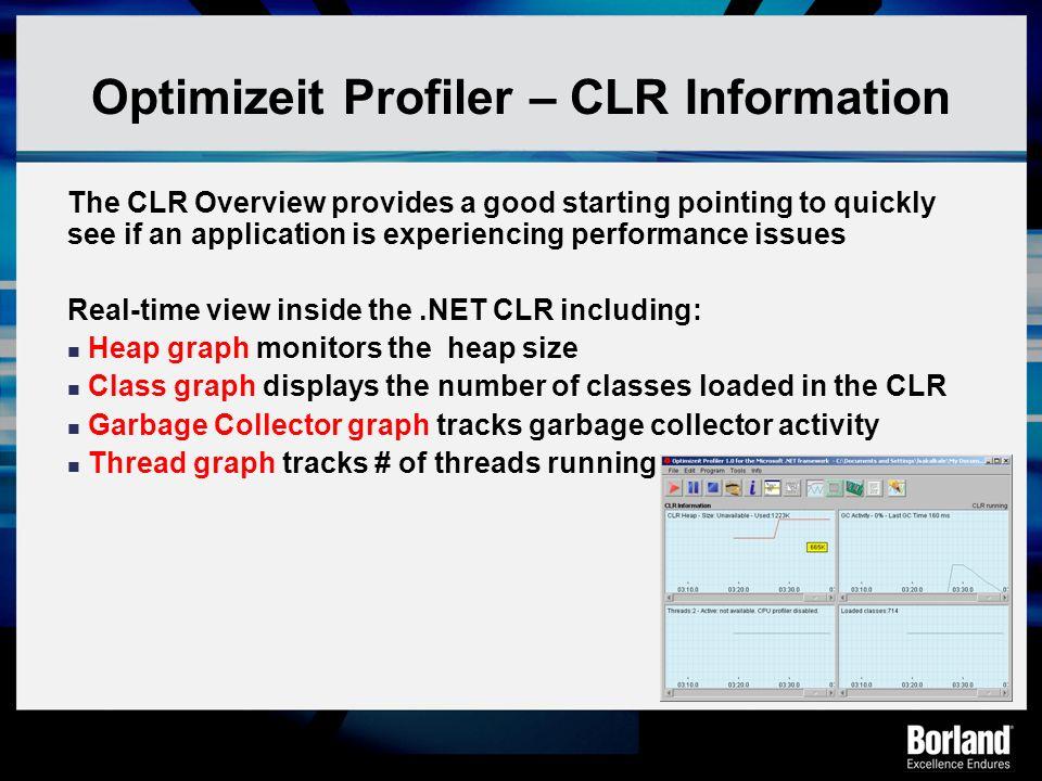 Optimizeit Profiler – CLR Information
