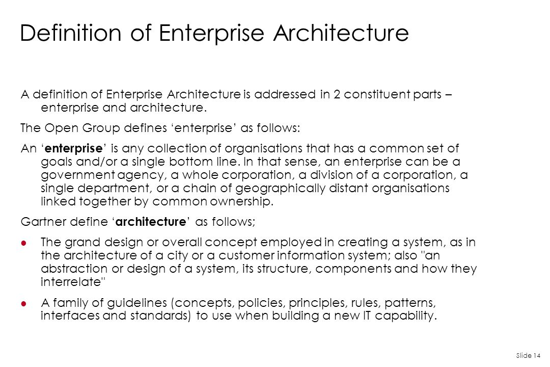 Definition of Enterprise Architecture