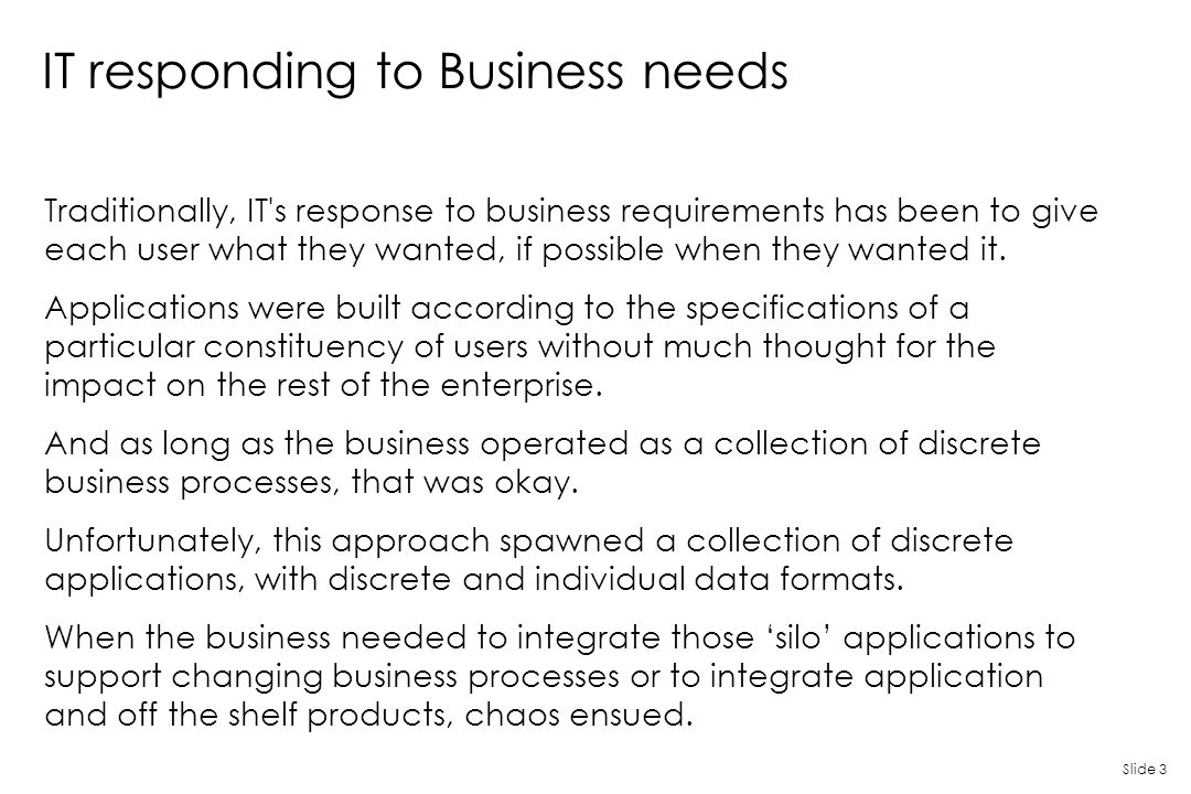 IT responding to Business needs