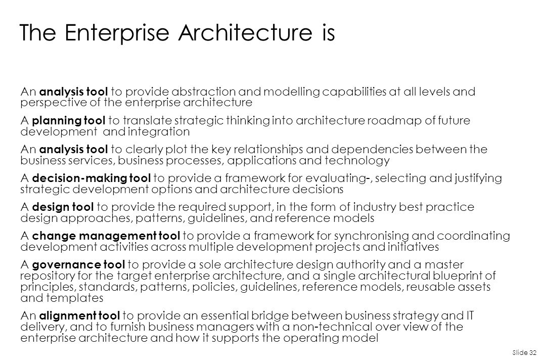 The Enterprise Architecture is