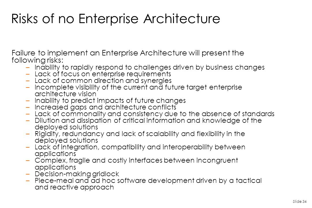 Risks of no Enterprise Architecture