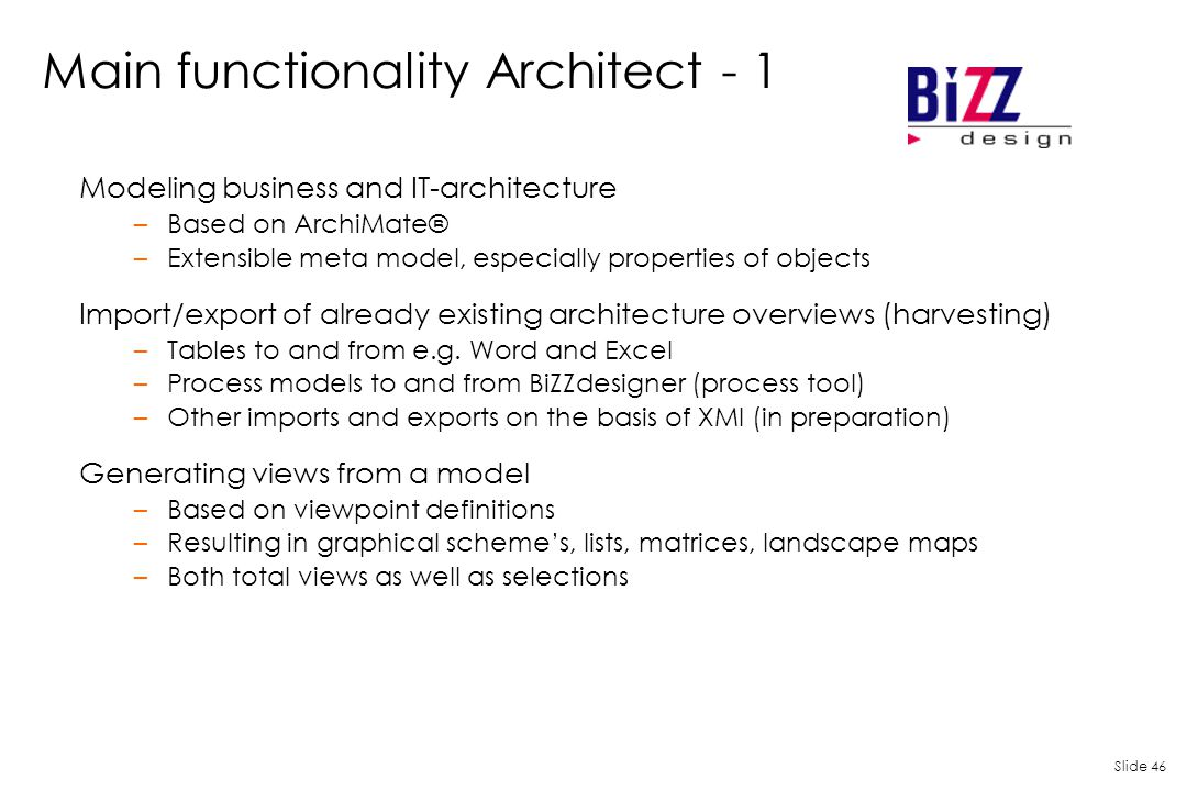 Main functionality Architect - 1