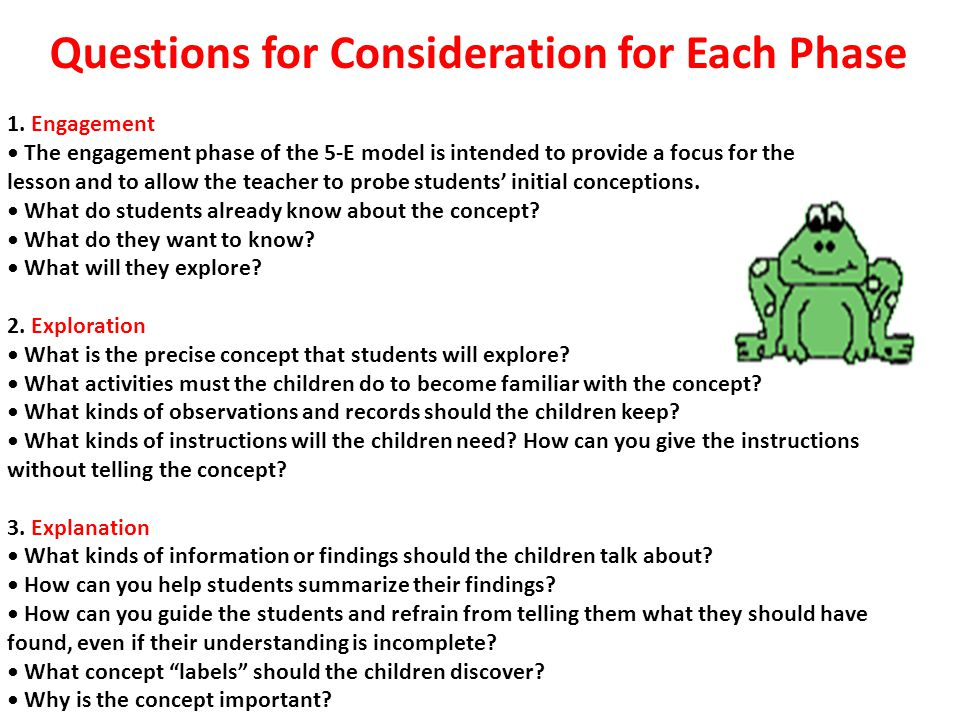 Questions for Consideration for Each Phase