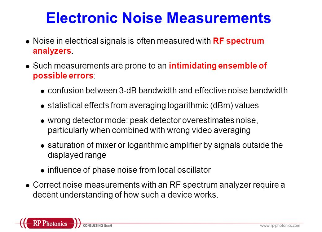 Electronic Noise Measurements