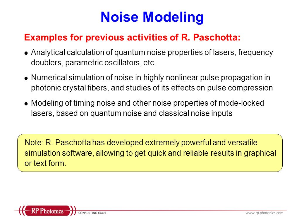 Noise Modeling Examples for previous activities of R. Paschotta: