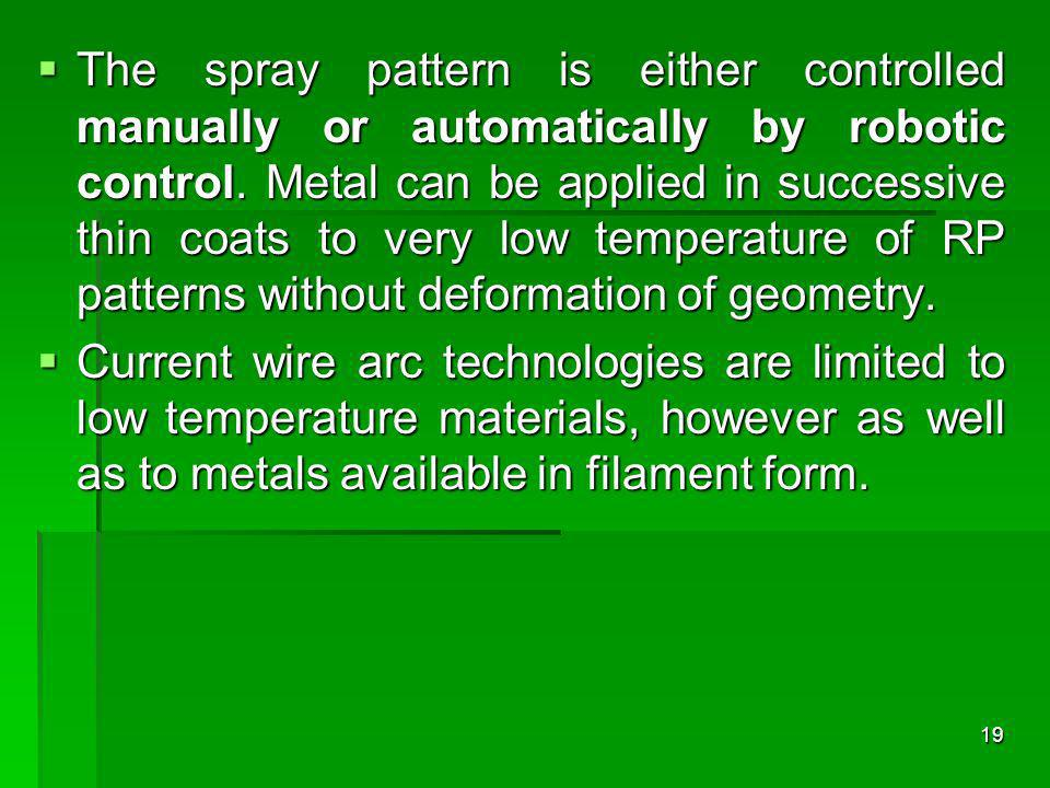The spray pattern is either controlled manually or automatically by robotic control. Metal can be applied in successive thin coats to very low temperature of RP patterns without deformation of geometry.