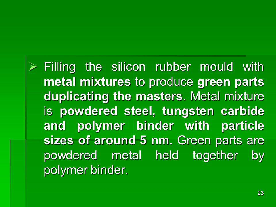 Filling the silicon rubber mould with metal mixtures to produce green parts duplicating the masters.