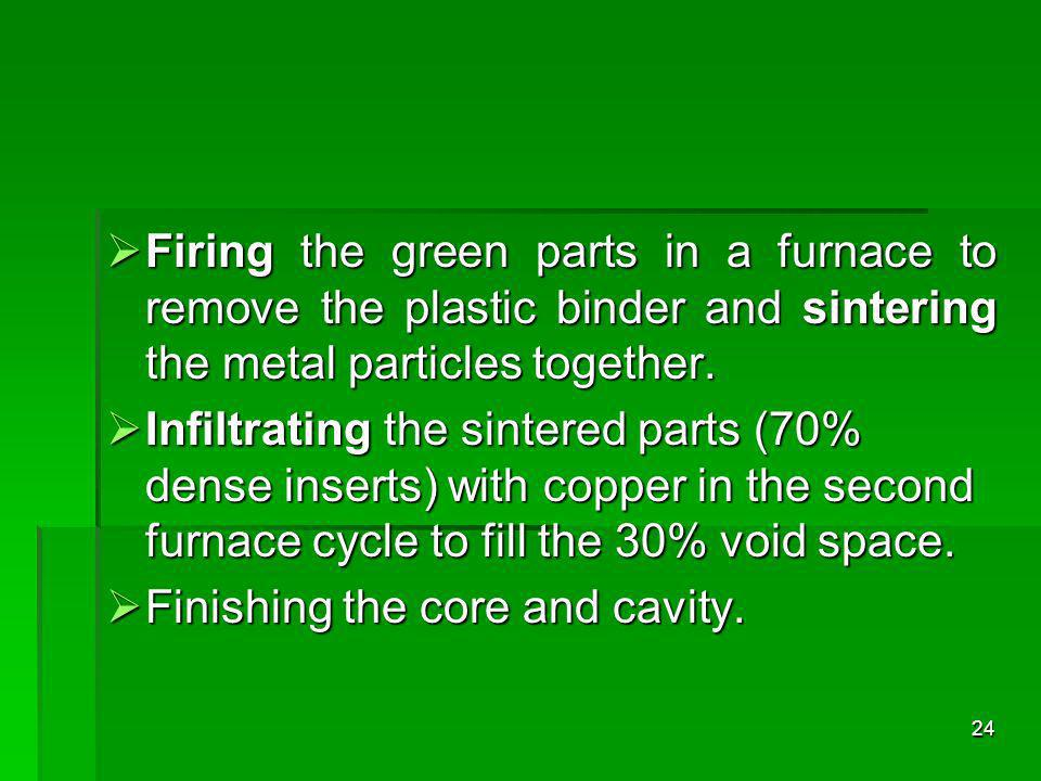 Firing the green parts in a furnace to remove the plastic binder and sintering the metal particles together.