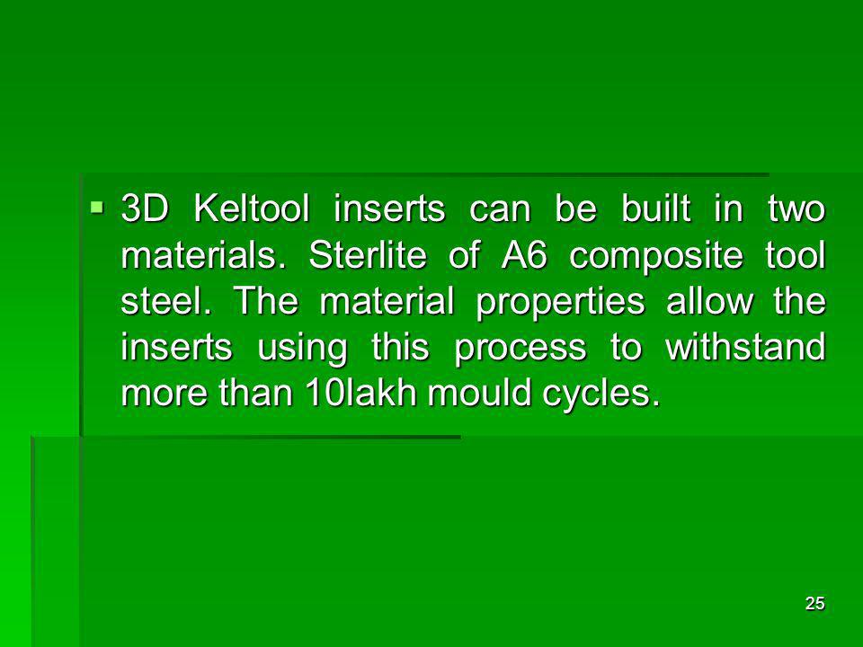 3D Keltool inserts can be built in two materials