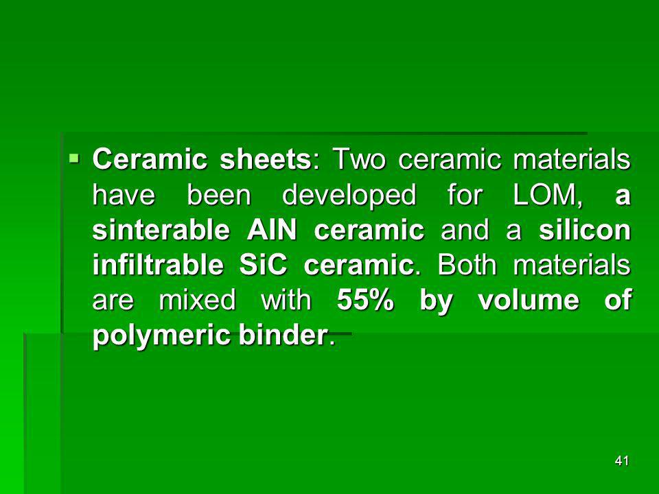 Ceramic sheets: Two ceramic materials have been developed for LOM, a sinterable AIN ceramic and a silicon infiltrable SiC ceramic.