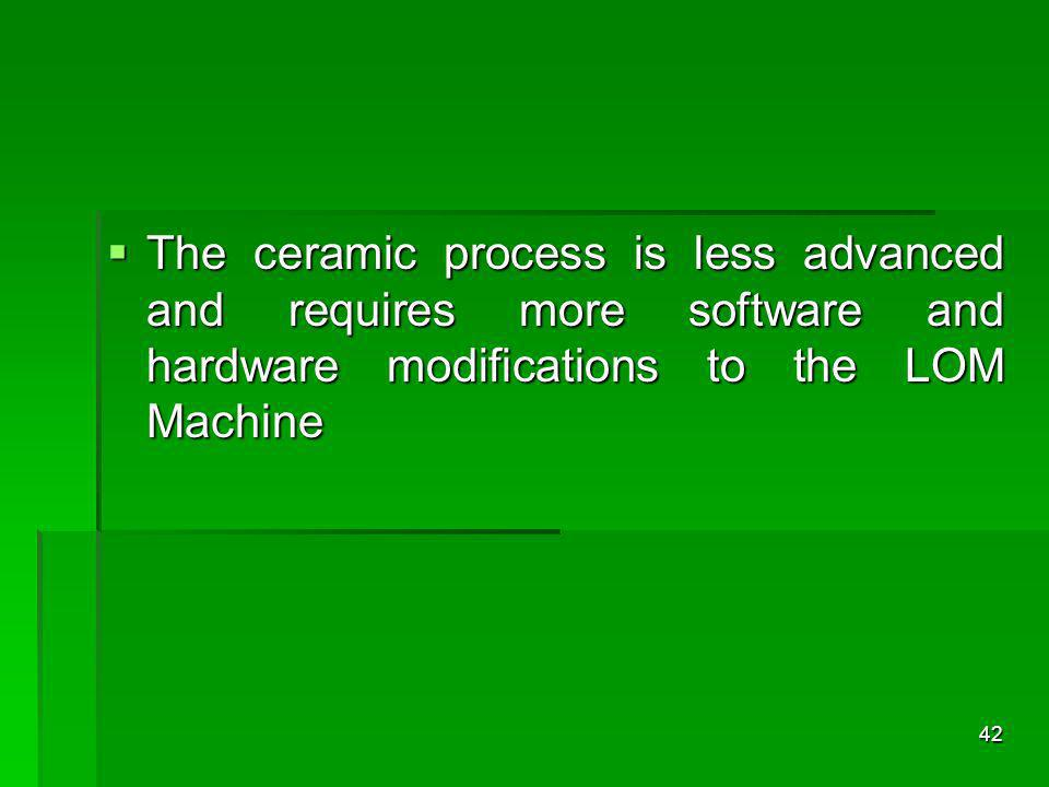 The ceramic process is less advanced and requires more software and hardware modifications to the LOM Machine