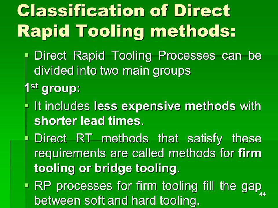 Classification of Direct Rapid Tooling methods: