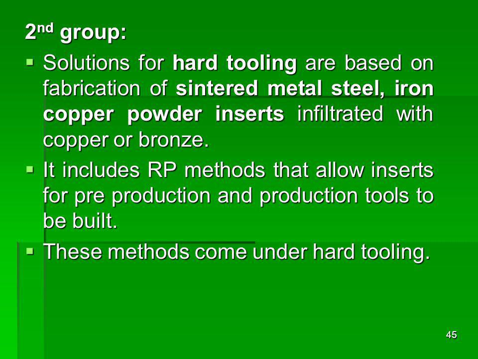 2nd group: Solutions for hard tooling are based on fabrication of sintered metal steel, iron copper powder inserts infiltrated with copper or bronze.