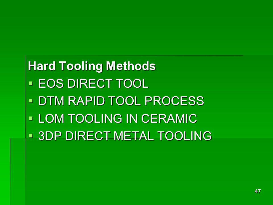 Hard Tooling Methods EOS DIRECT TOOL. DTM RAPID TOOL PROCESS.