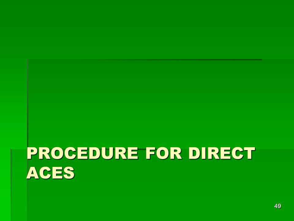Procedure for direct aces