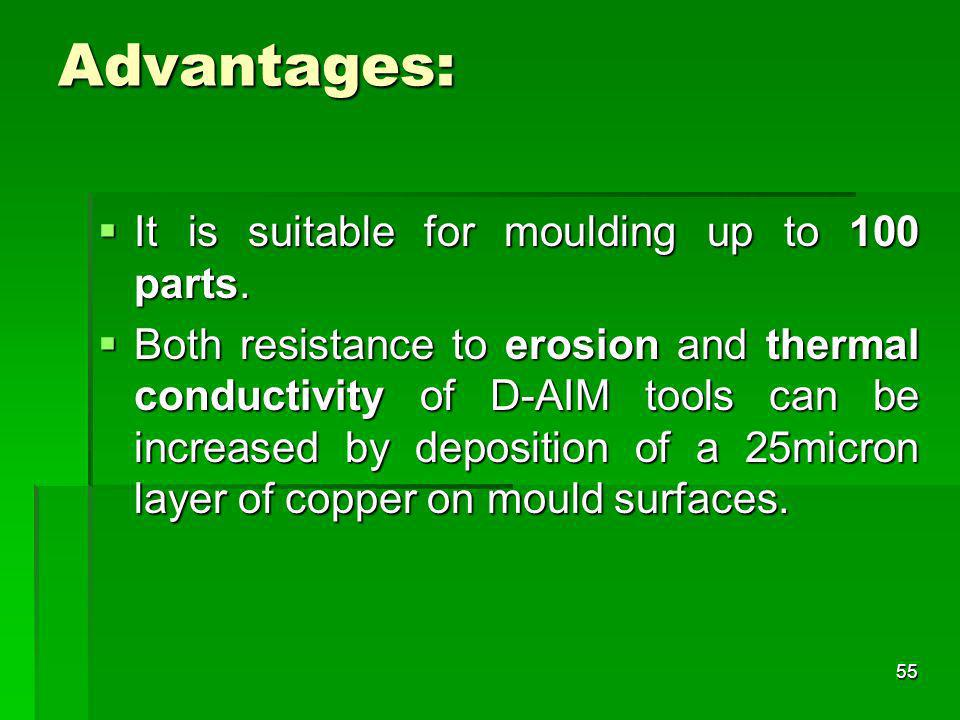 Advantages: It is suitable for moulding up to 100 parts.