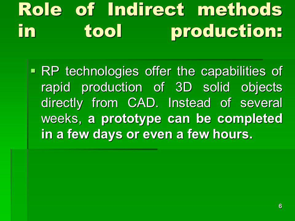 Role of Indirect methods in tool production: