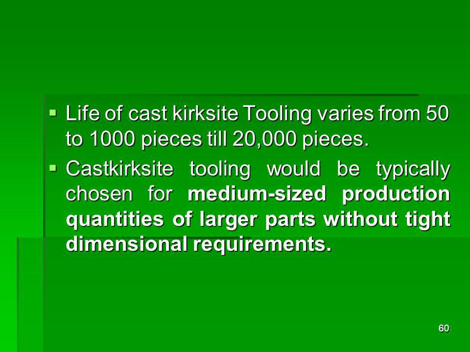 Life of cast kirksite Tooling varies from 50 to 1000 pieces till 20,000 pieces.