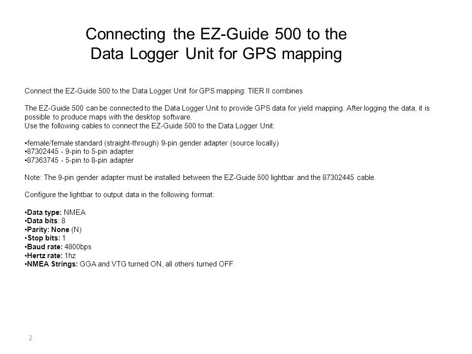 Connecting the EZ-Guide 500 to the Data Logger Unit for GPS mapping