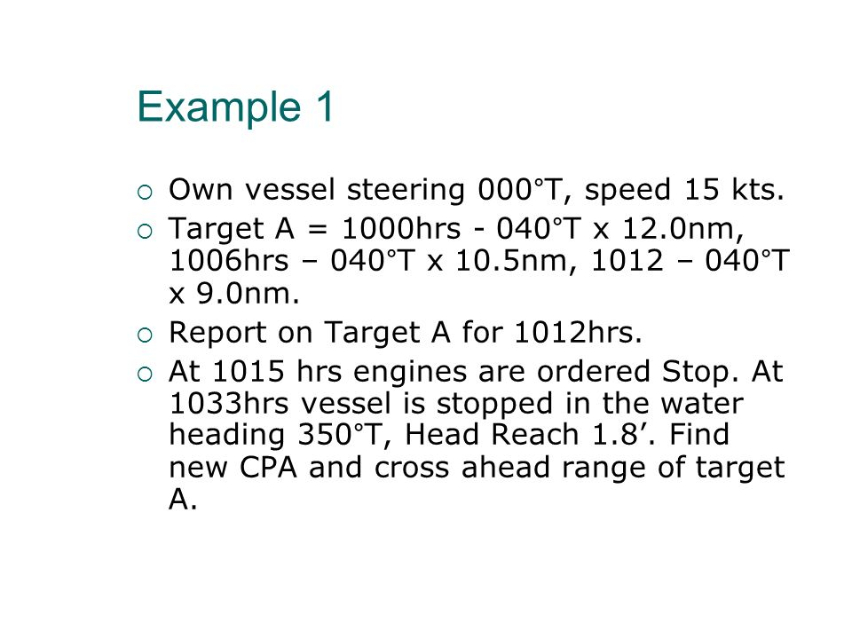 Example 1 Own vessel steering 000°T, speed 15 kts.