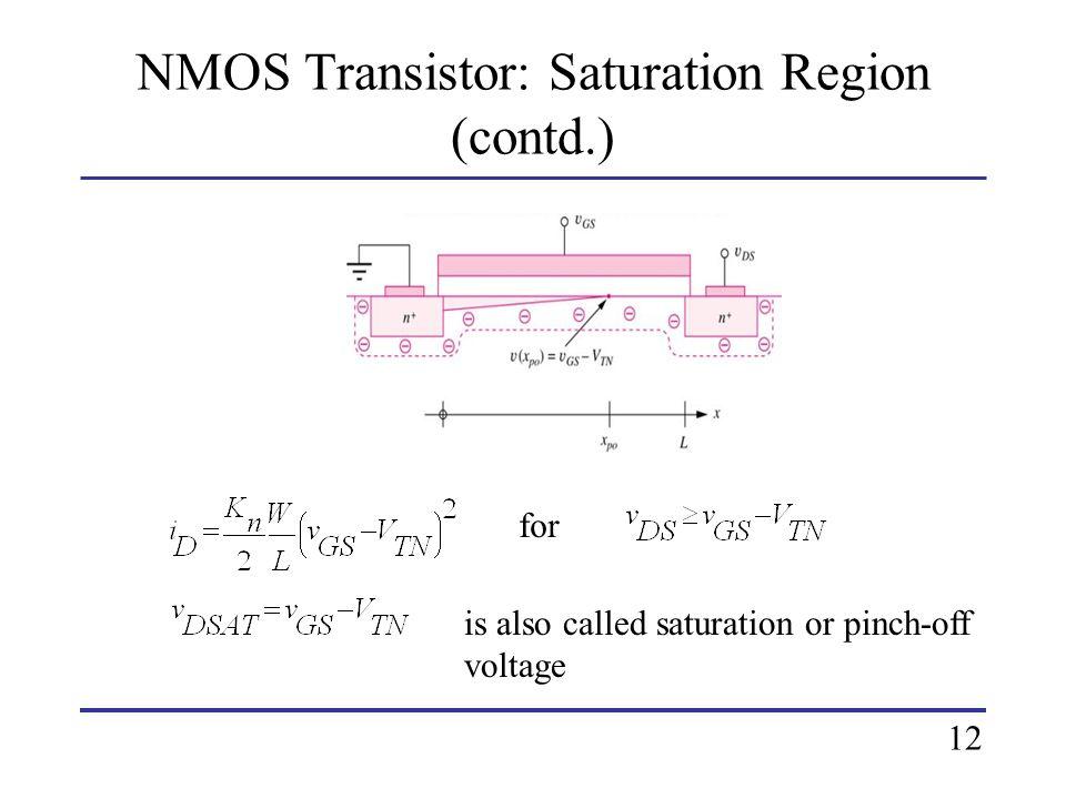 NMOS Transistor: Saturation Region (contd.)