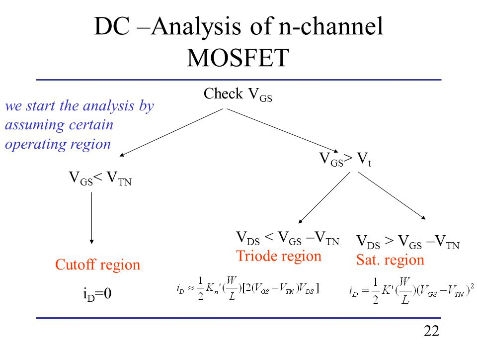 DC –Analysis of n-channel MOSFET