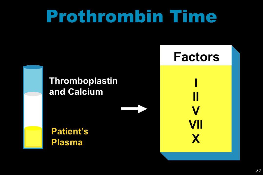 Prothrombin Time Factors I II V VII X Thromboplastin and Calcium