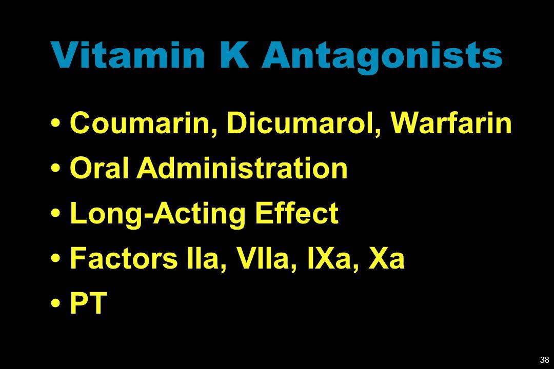 Vitamin K Antagonists • Coumarin, Dicumarol, Warfarin