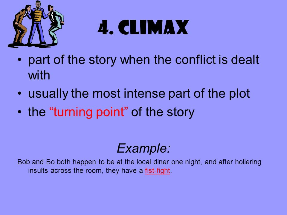 4. Climax part of the story when the conflict is dealt with