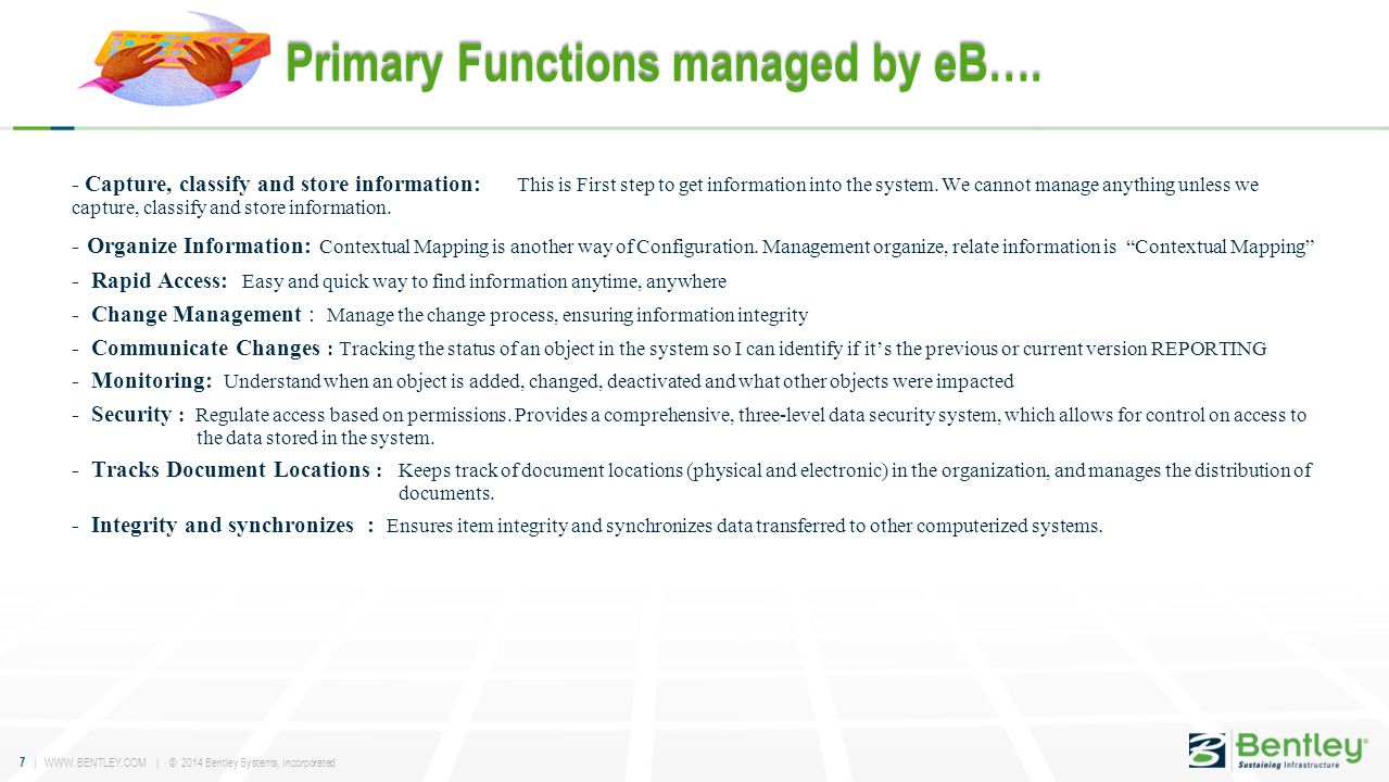 Primary Functions managed by eB….