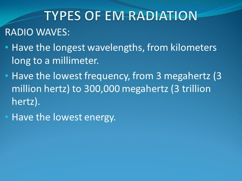 TYPES OF EM RADIATION RADIO WAVES: