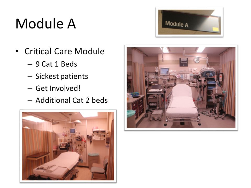 Module A Critical Care Module 9 Cat 1 Beds Sickest patients