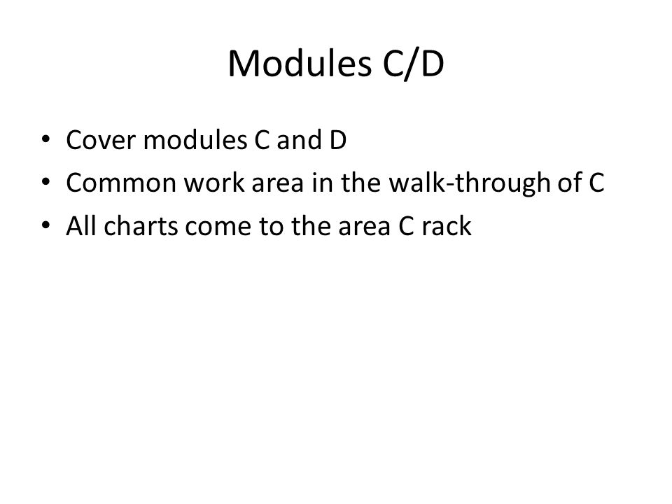 Modules C/D Cover modules C and D