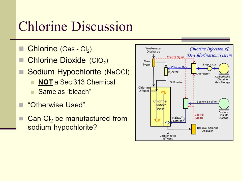 Chlorine Discussion Chlorine (Gas - Cl2) Chlorine Dioxide (ClO2)