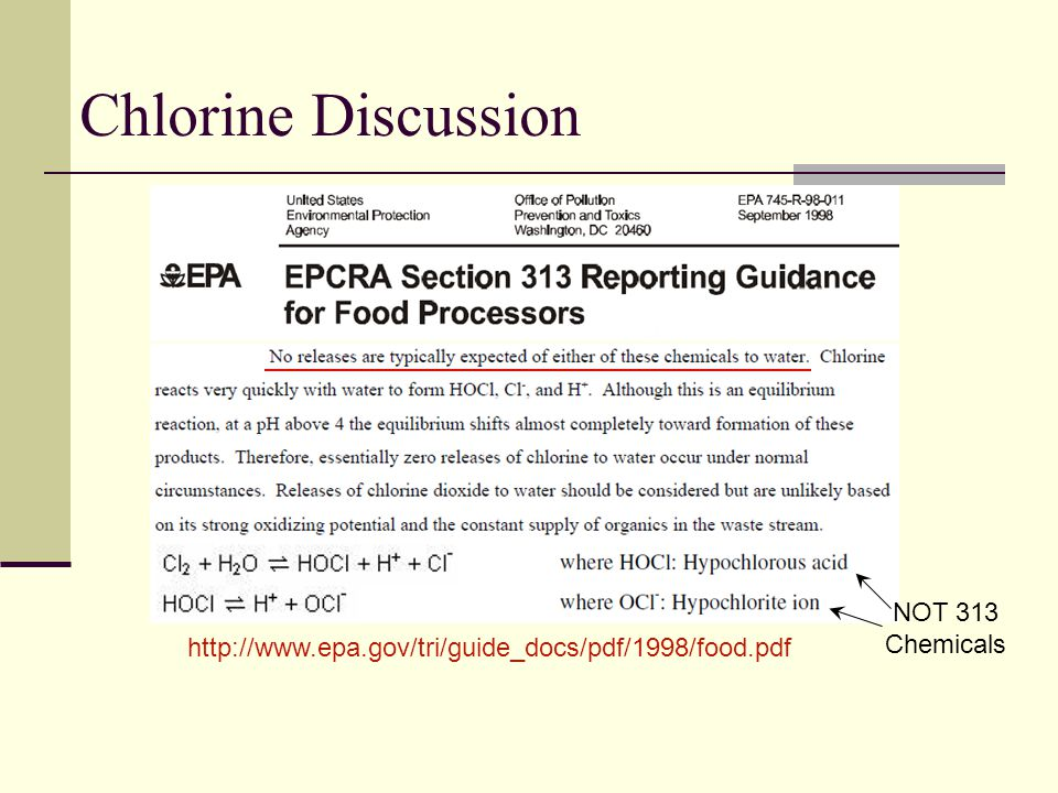 Chlorine Discussion NOT 313 Chemicals