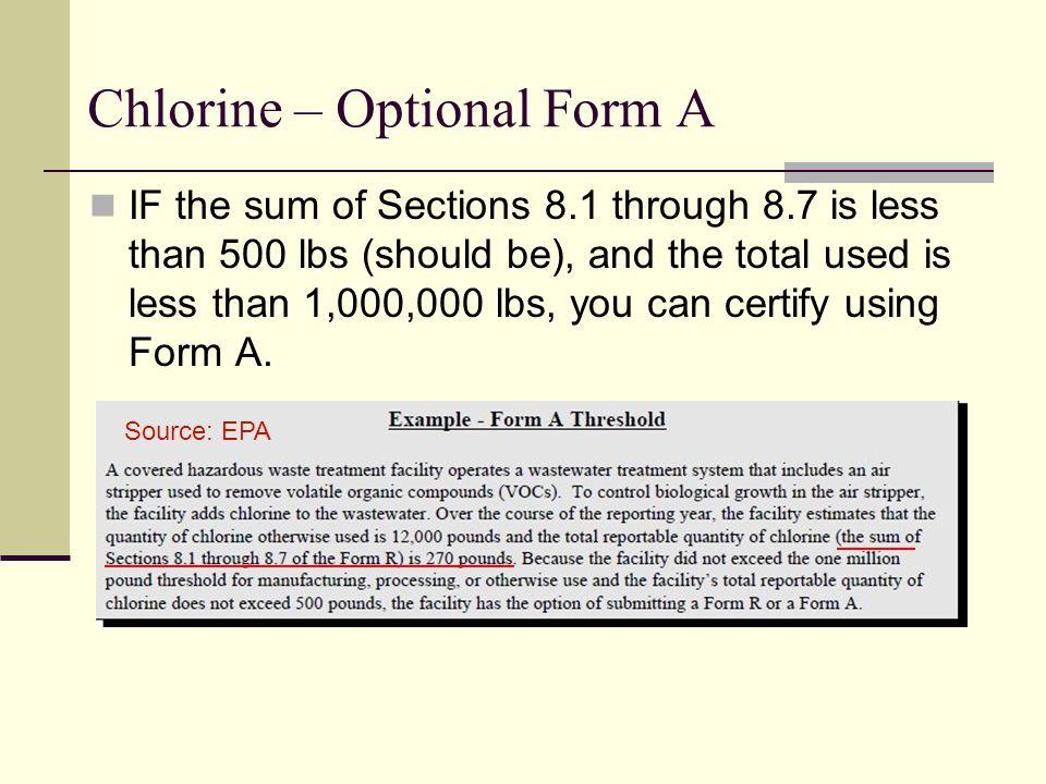 Chlorine – Optional Form A