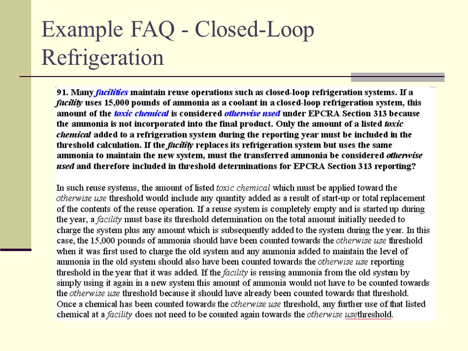 Example FAQ - Closed-Loop Refrigeration